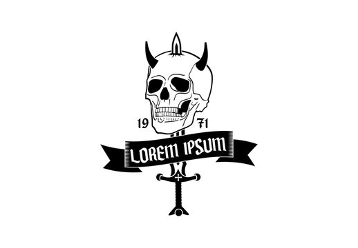 Tattoo Style Skull Logo Layout