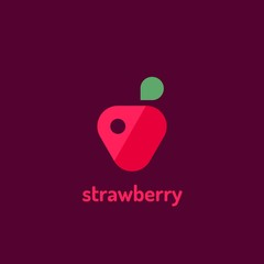 Minimalist  flat vector logotype of strawberry. Design template logo