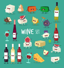 This is wine icon set. It is are funny glasses of wine, bottles and cheeses. You can use for cards, fridge magnets, stickers, posters.