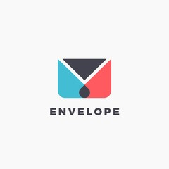 Flat vector illustration of stylized envelope. Minimalist silhouette logo for delivery service, app icon or post office