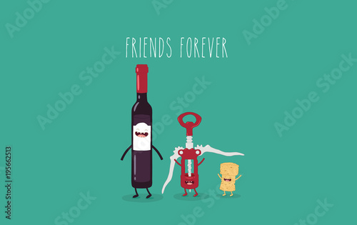 This is a vector illustration  The funny bottle of wine