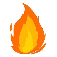 Flame icon, cartoon style