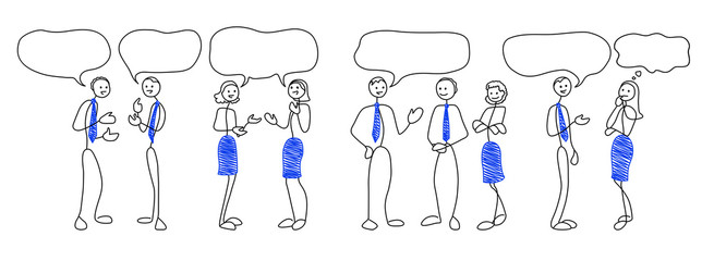 Stick people figures with speech bubbles. Communication concept. Doodle style men and women are talking. Vector illustration set