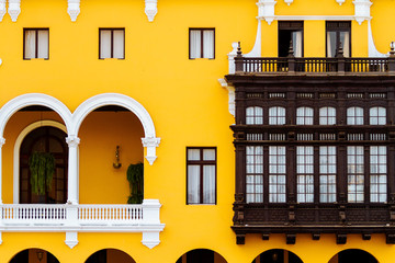 Balconies of the building of the Municipality of Lima, Peru