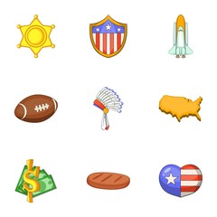 American things icons set, cartoon style