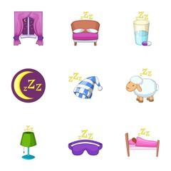 Sleep time icons set, cartoon style