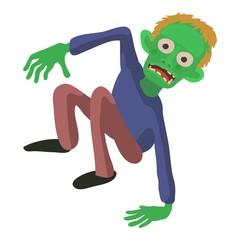 Zombie on the floor icon, cartoon style
