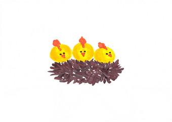 Figure gouache: three chicks in the nest.