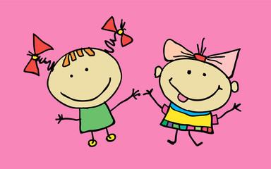 Hand drawn beautiful cute little girls best friends. T-shirt graphic. cartoon character. vector
