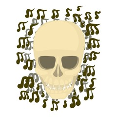 Skull with notes icon, cartoon style