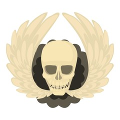 Skull with wings icon, cartoon style