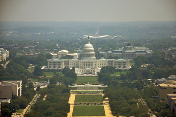 United States Capitol Building aerial View from the top of Washington Monument in Washington, District of Columbia, USA.