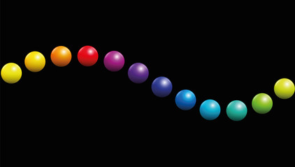 Twelve balls forming a wave on black background. Seamless extendable vector illustration of color spectrum.
