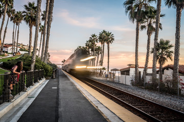 Speeding Train on Train Tracks in San Clemente