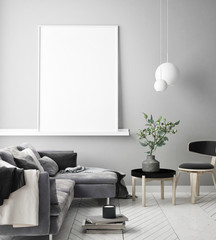 mock up poster frame in interior background, Scandinavian style, 3D render, 3D illustration