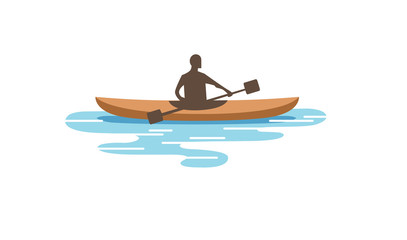 Creative Man Rowing Traditional Boat Logo Design Illustration