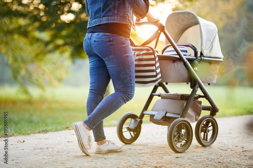 8837ce99c37d Woman with baby stroller walks in the park at sunset