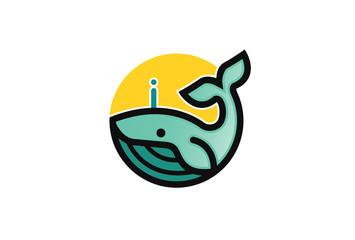 Creative Blue Dolphin Whale Logo Design Illustration