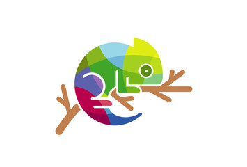 Chameleon Colorful triangles Logo Symbol Design Illustration