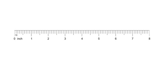Ruler 8 inch. Measuring tool. Ruler Graduation. Ruler grid 8 inch. Size indicator units. Metric inch size indicators. 8-inch grid with a division of 1/10 Vector AI10