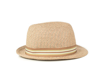 Vintage straw hat isolated on white background
