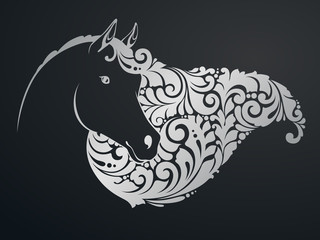 Ornamental decorative horse with a beautiful mane.