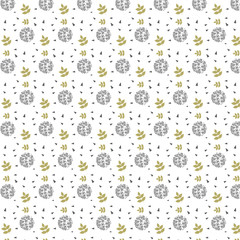 Memphis pattern with black drops and gold yellow leaves ande triangle