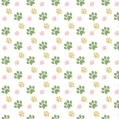 Ornament Animal pattern ornament with green yellow pink footprints dog