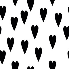 Seamless pattern with hand-drawn hearts. Ink grungy heart backgr