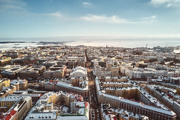 Helsinki, Finland - February 21, 2017: Aerial View Fredrikinkatu