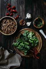 Ingredients for pasta with swiss chard