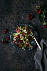 Cherry, walnuts and radish salad