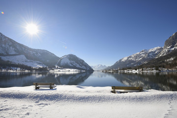 Landscape of Benches in Snow next to Grundlsee Lake in Winter, Liezen District, Styria, Germany