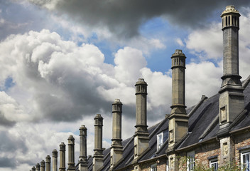 Row of Chimneys on Roofs of Houses, Wells, England, UK