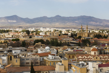 View of cityscape with Kyrenia Mountain in background