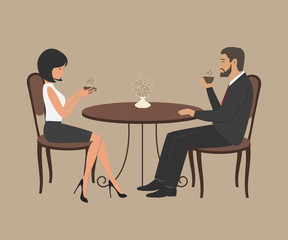 Coffee time. A young man and a young woman are sitting at a table and drinking coffee. Vector illustration.