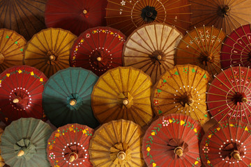 Traditional paper umbrellas for sale in Inle Lake, Myanmar.