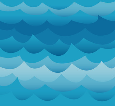 Waves seamless pattern vector. Ocean sea water blue cut out paper style.