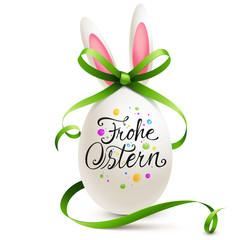 Frohe Ostern - Bemaltes Osterei und Osterhasen Ei mit Kalligraphie und geschwungener Schleife
