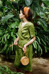 Stylish woman in garden