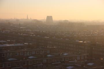 The sun rises over Amsterdam