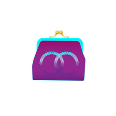 Female purple purse image isolated on a white background. Vector hand drawn cartoon illustration of fashion accessory.