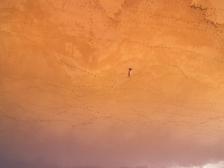 Aerial view of woman on the beach