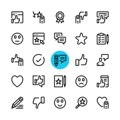 Testimonials, feedback, customer satisfaction, review line icons set. Modern graphic design concepts, simple outline elements collection. 32x32 px. Pixel perfect. Vector line icons