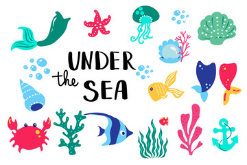 Summer lettering under sea. Set hand drawn icons, signs and banners. Bright summertime poster. Collection Summer hand drawn elements for summer holiday and party. Vector illustration.