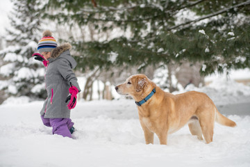Girl walking with dog in snow
