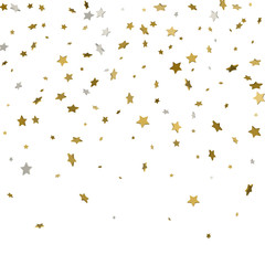 Festive flying gold stars shower. 3d. Vector illustration