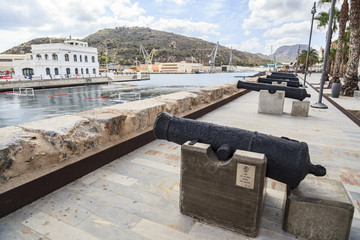 Old cannons in port of Cartagena,Spain.