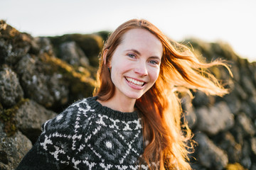 Young woman travelling in Iceland