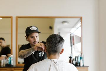 modern haircut at barbershop